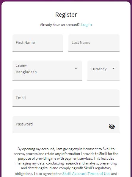 Skrill Account Registration