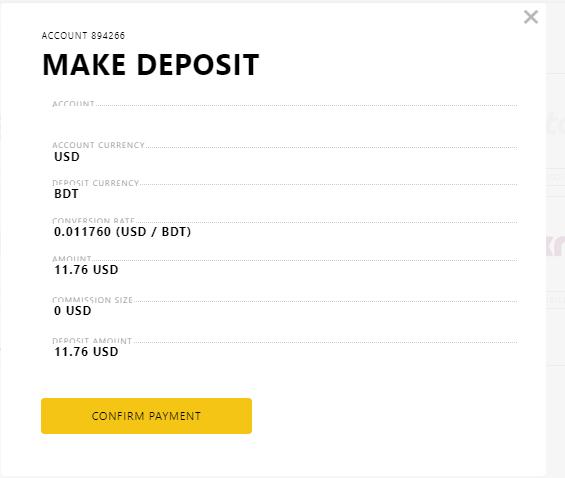 Exness Deposit System Via Bank Transfer rate