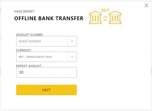 Exness Deposit System Via Bank Transfer