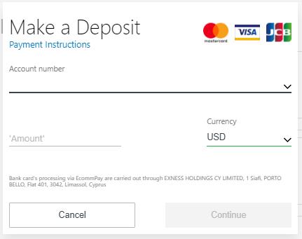 Exness Deposit Via Credit Card